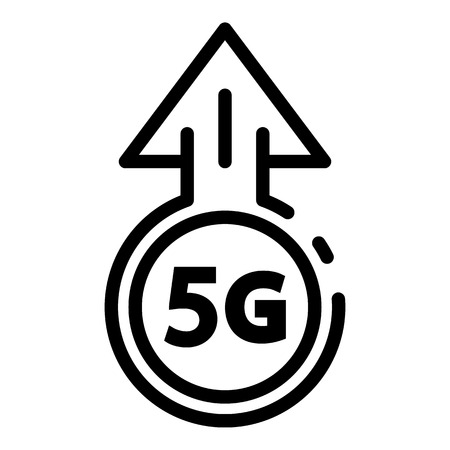 5G speed icon. Outline 5G speed vector icon for web design isolated on white background