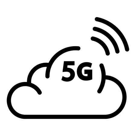 5G cloud icon, outline style Illustration