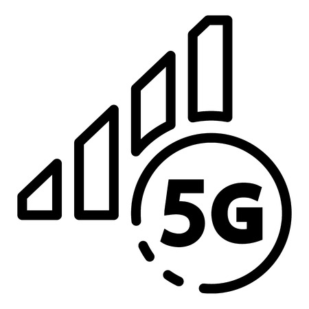 5G network sign icon, outline style Illustration