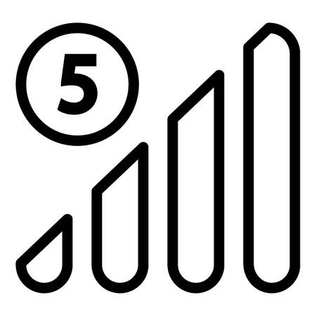 5G network on the phone icon, outline style