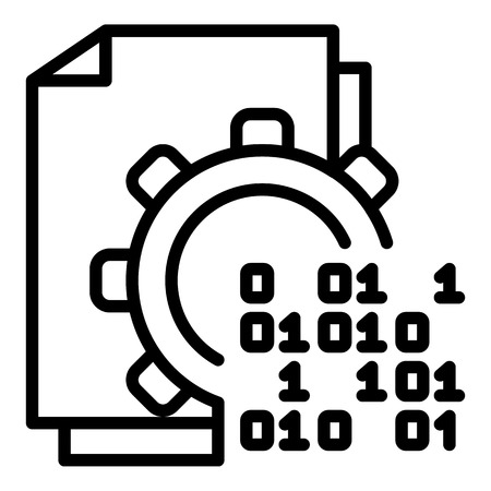 Malicious code in action icon, outline style