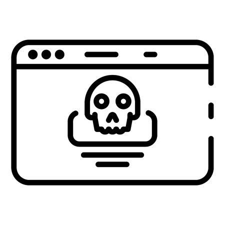 Hacking alert icon, outline style