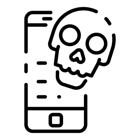 Mobile cyber attack icon, outline style