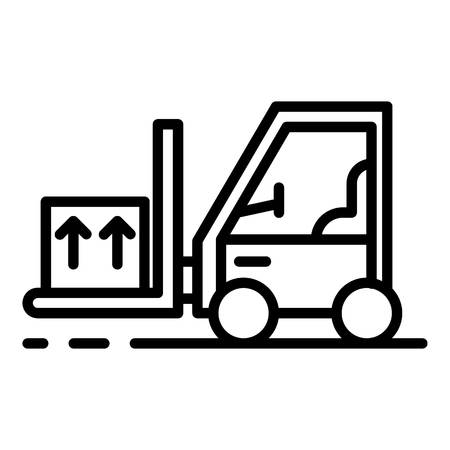 Forklift with goods icon. Outline forklift with goods vector icon for web design isolated on white background