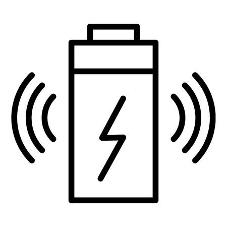 Wireless battery charging icon, outline style