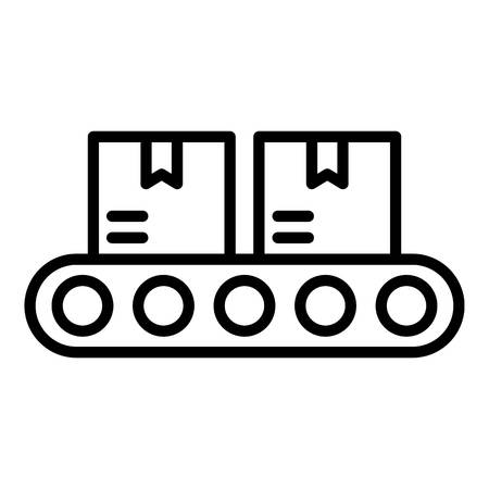 Goods on the conveyor icon. Outline goods on the conveyor vector icon for web design isolated on white background