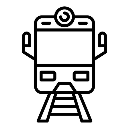 Arriving train front view icon. Outline arriving train front view vector icon for web design isolated on white background