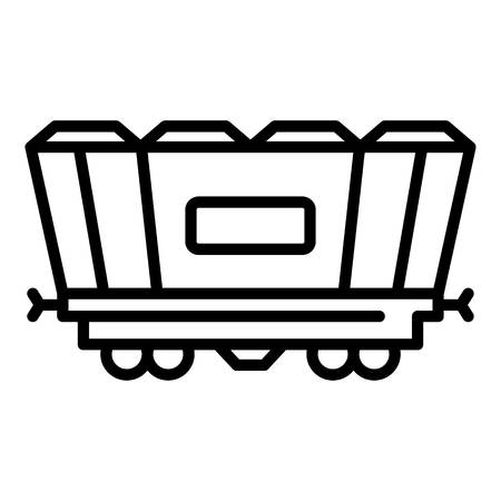 Freight railway wagon icon. Outline freight railway wagon vector icon for web design isolated on white background Illustration