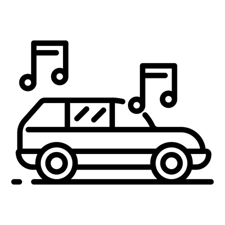 Nice music from the car icon. Outline nice music from the car vector icon for web design isolated on white background