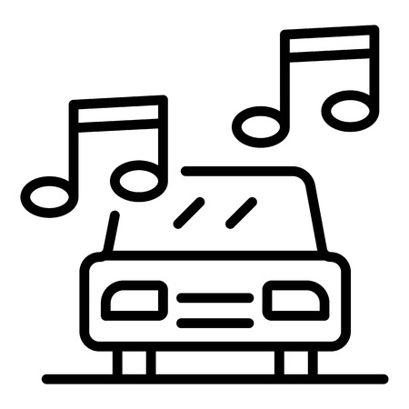 Loud music in the car icon. Outline loud music in the car vector icon for web design isolated on white background