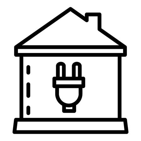 Smart home plug icon, outline style
