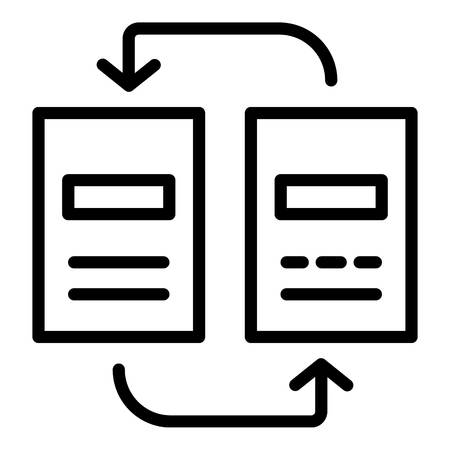 Reorganization of documents icon. Outline reorganization of documents vector icon for web design isolated on white background