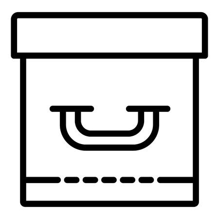 Closed archive box icon, outline style Ilustração