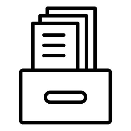 Archival box with documents icon, outline style