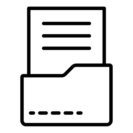 Document in folder icon, outline style Illustration