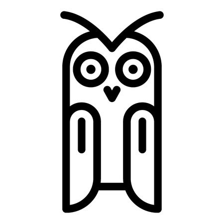 Owl front view icon. Outline owl front view vector icon for web design isolated on white background  イラスト・ベクター素材