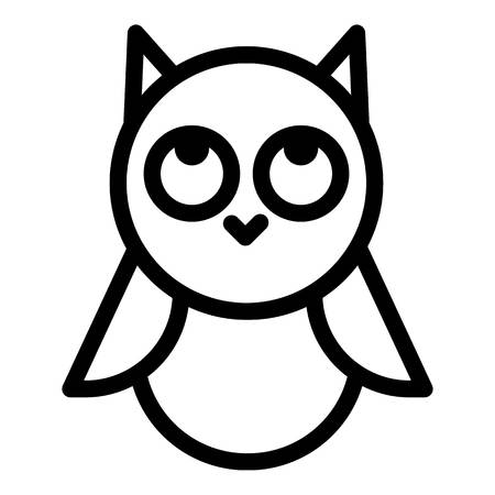 Baby owl looking up icon, outline style
