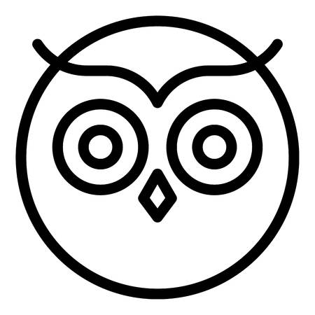 Round owl face icon, outline style Stock Illustratie