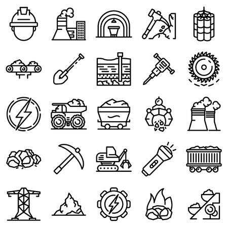Coal industry icons set. Outline set of coal industry vector icons for web design isolated on white background