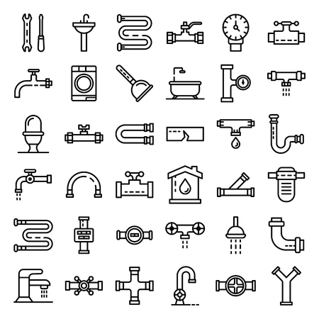 Plumbing icons set, outline style