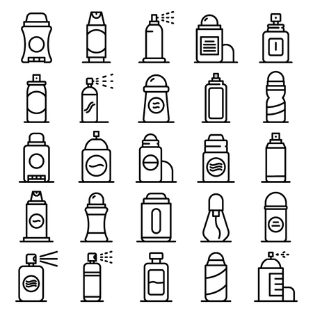 Deodorant icons set. Outline set of deodorant vector icons for web design isolated on white background