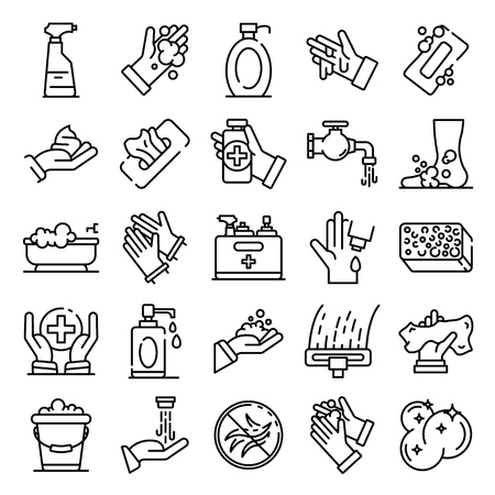 Sanitation icons set, outline style