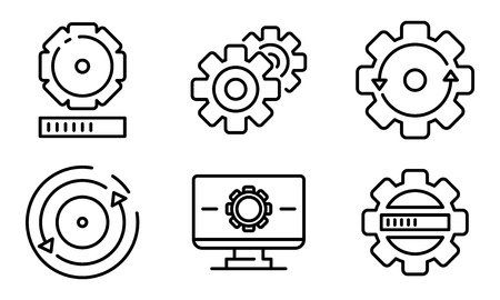 System update icons set. Outline set of system update vector icons for web design isolated on white background Vector Illustration