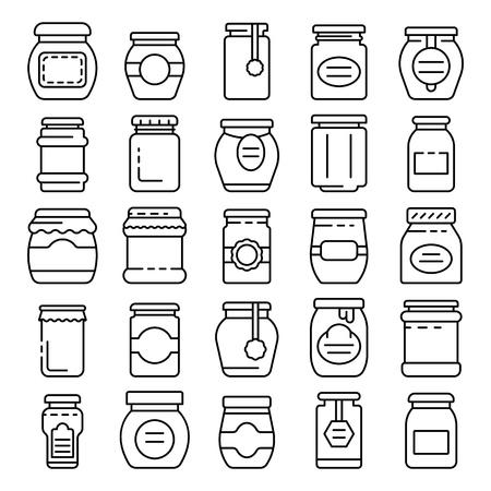 Jam jar icons set, outline style 向量圖像