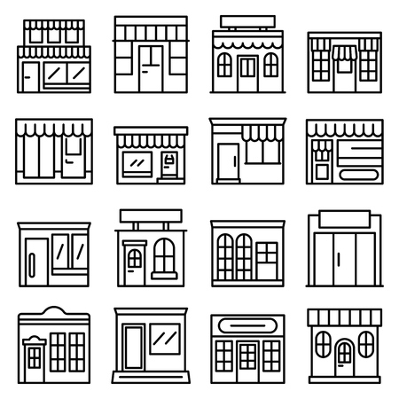 Local business icons set, outline style