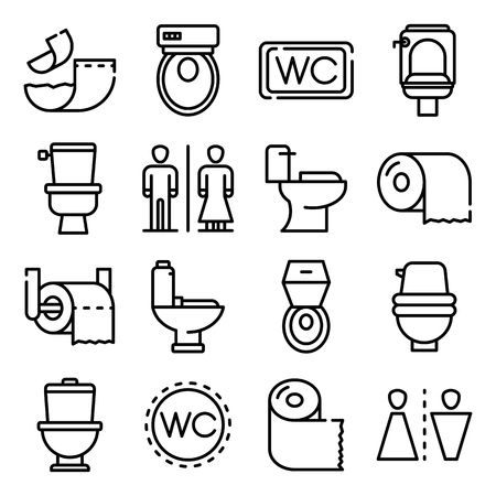 Toilet icons set, outline style