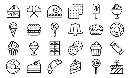 Confectionery icons set, outline style