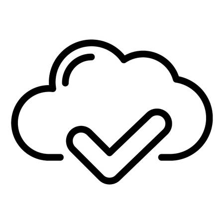 Cloud check icon. Outline cloud check vector icon for web design isolated on white background Иллюстрация