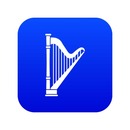 Harp icon digital blue for any design isolated on white vector illustration