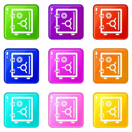 Safe icons set 9 color collection
