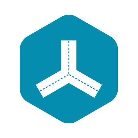 Three roads icon, simple style Ilustración de vector