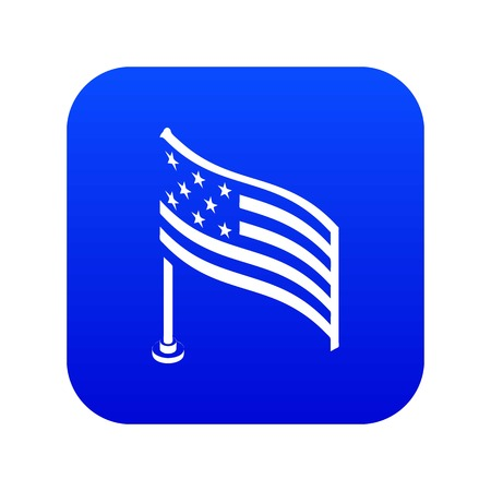 American flag icon blue vector isolated on white background