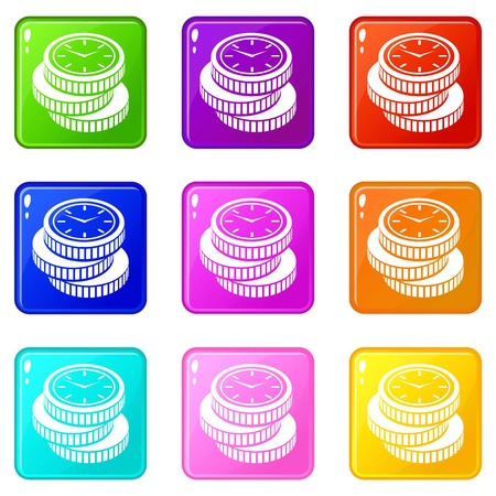 Coin icons set 9 color collection