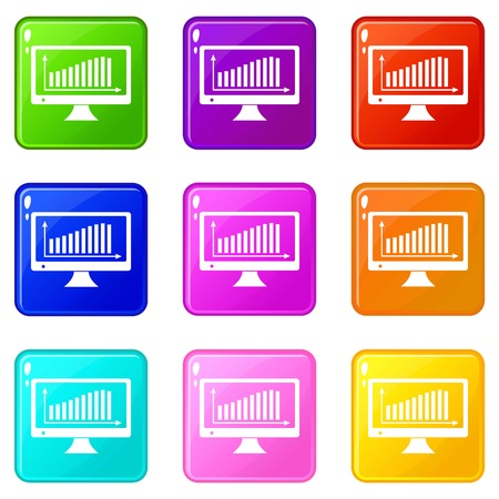 Graph on the monitor icons set 9 color collection