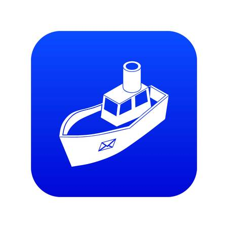 Sea ship delivery icon blue vector isolated on white background Illustration