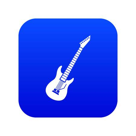 Electric guitar icon digital blue for any design isolated on white vector illustration