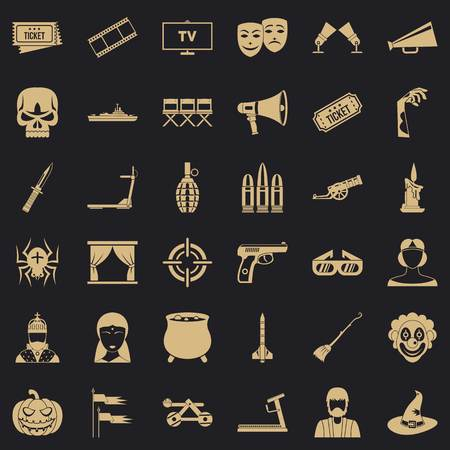 Movie icons set, simle style