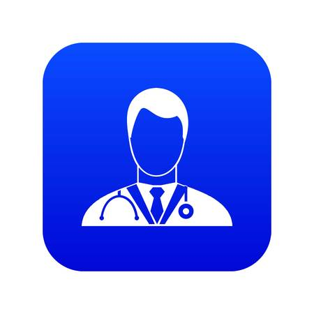 Doctor icon digital blue for any design isolated on white vector illustration