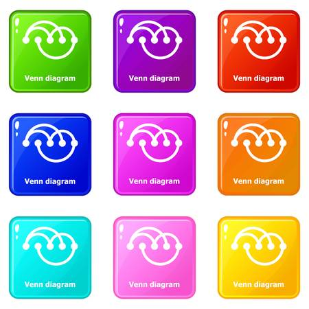 Venn diagramm icons set 9 color collection