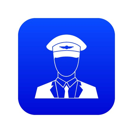 Pilot icon digital blue for any design isolated on white vector illustration