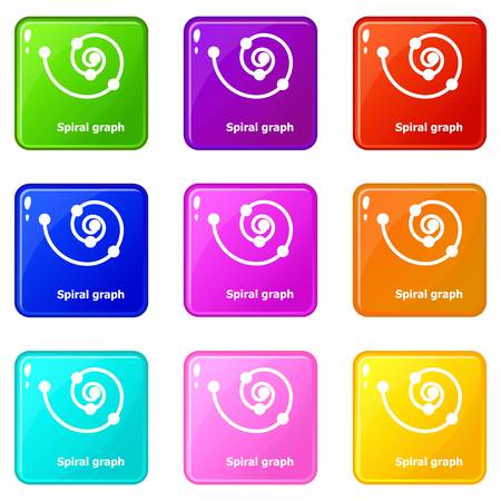 Spiral graph icons set 9 color collection isolated on white for any design Illustration