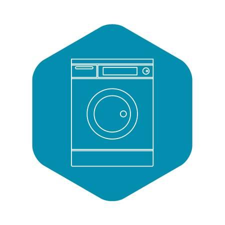Washing machine icon. Outline illustration of washing machine vector icon for web