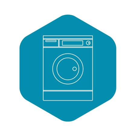 Washing machine icon. Outline illustration of washing machine vector icon for web