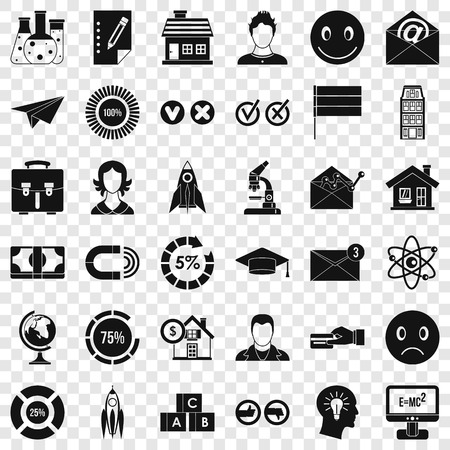 Computer learning icons set. Simple style of 36 computer learning vector icons for web for any design