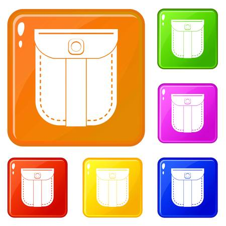 Fashion jeans pocket icons set collection vector 6 color isolated on white background Векторная Иллюстрация