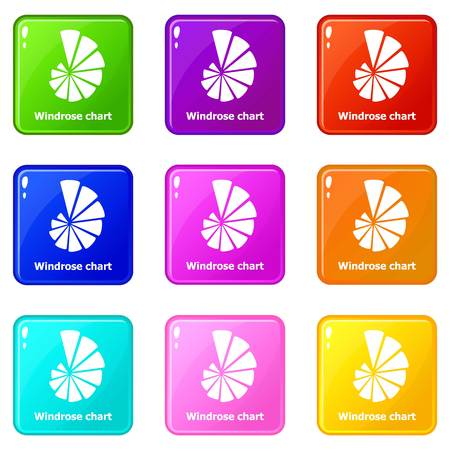 Windrose chart icons set 9 color collection